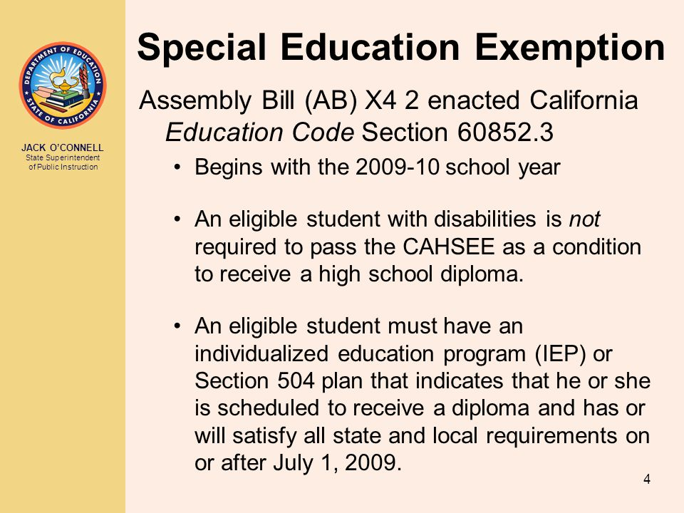 Special Education Exemption