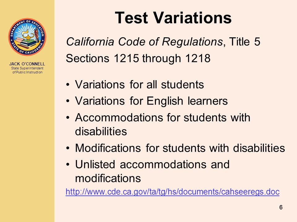 Test Variations California Code of Regulations, Title 5