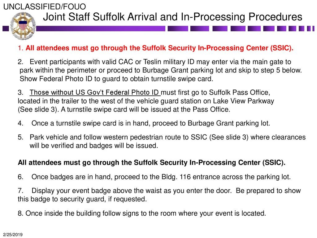 Joint Staff Suffolk Arrival and In-Processing Procedures
