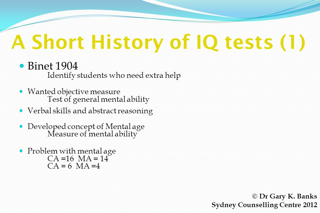A Short History of IQ tests (1)