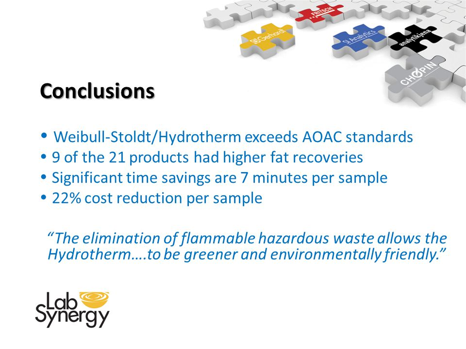 Conclusions Weibull-Stoldt/Hydrotherm exceeds AOAC standards