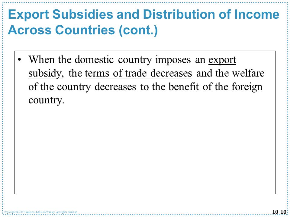Export Subsidies and Distribution of Income Across Countries (cont.)