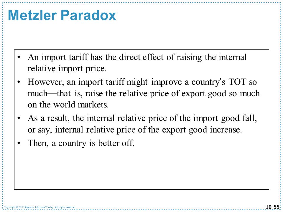Metzler Paradox An import tariff has the direct effect of raising the internal relative import price.