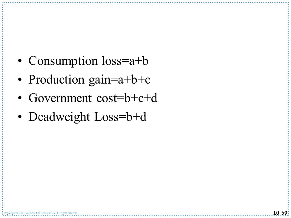 Consumption loss=a+b Production gain=a+b+c Government cost=b+c+d Deadweight Loss=b+d