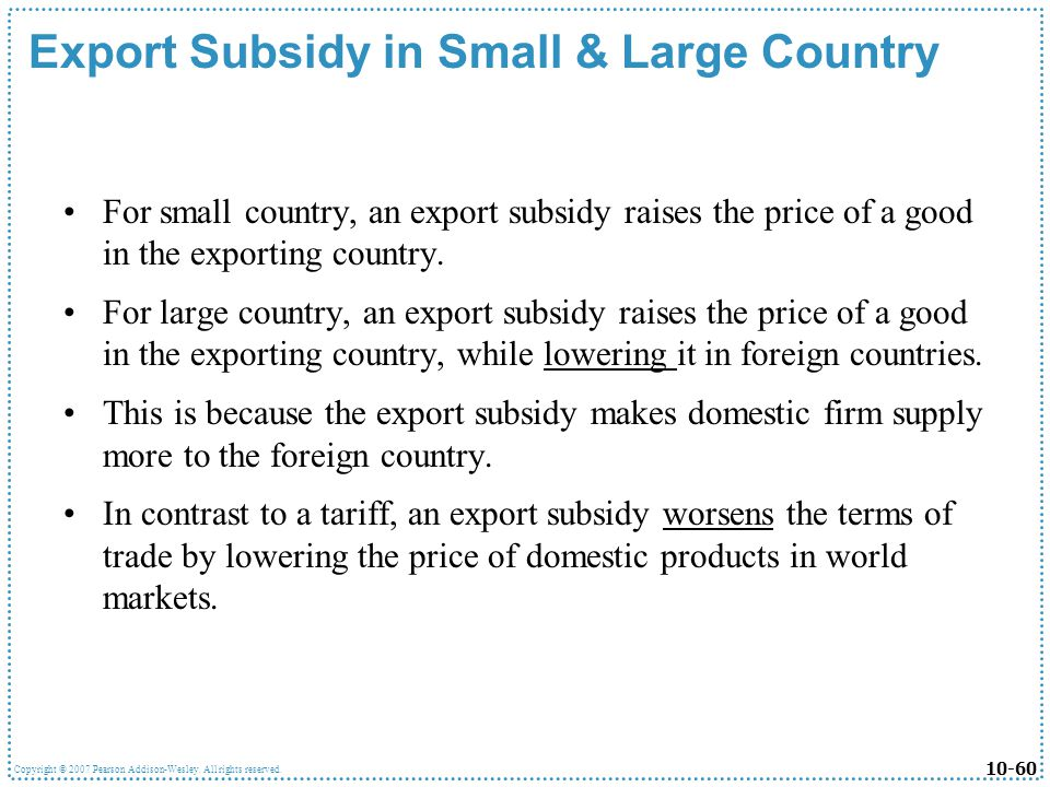 Export Subsidy in Small & Large Country