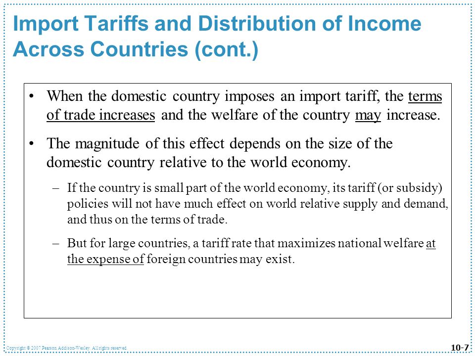 Import Tariffs and Distribution of Income Across Countries (cont.)