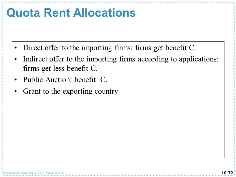 Quota Rent Allocations