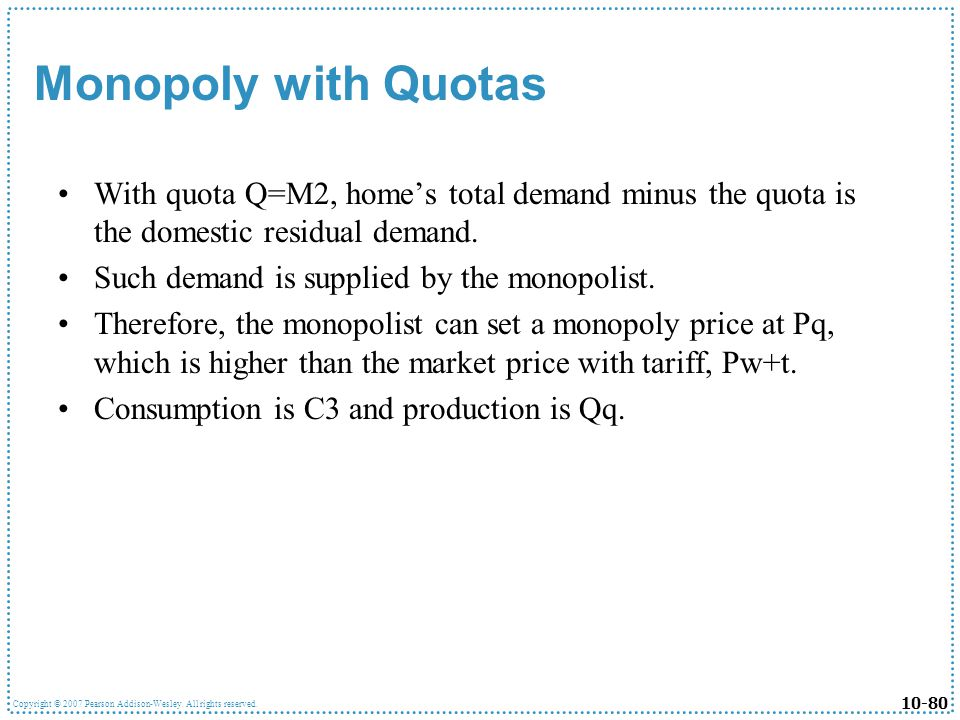 Monopoly with Quotas With quota Q=M2, home's total demand minus the quota is the domestic residual demand.