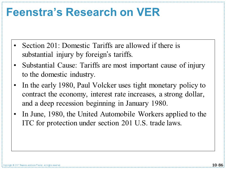 Feenstra's Research on VER