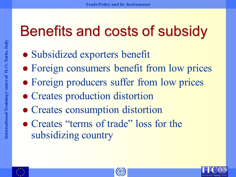 Benefits and costs of subsidy