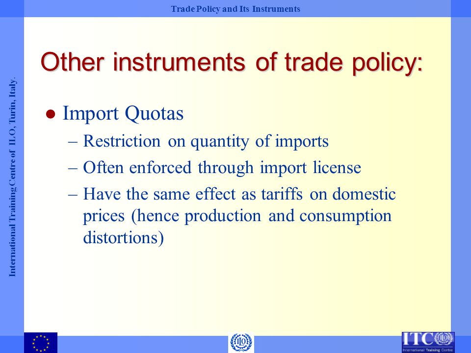 Other instruments of trade policy: