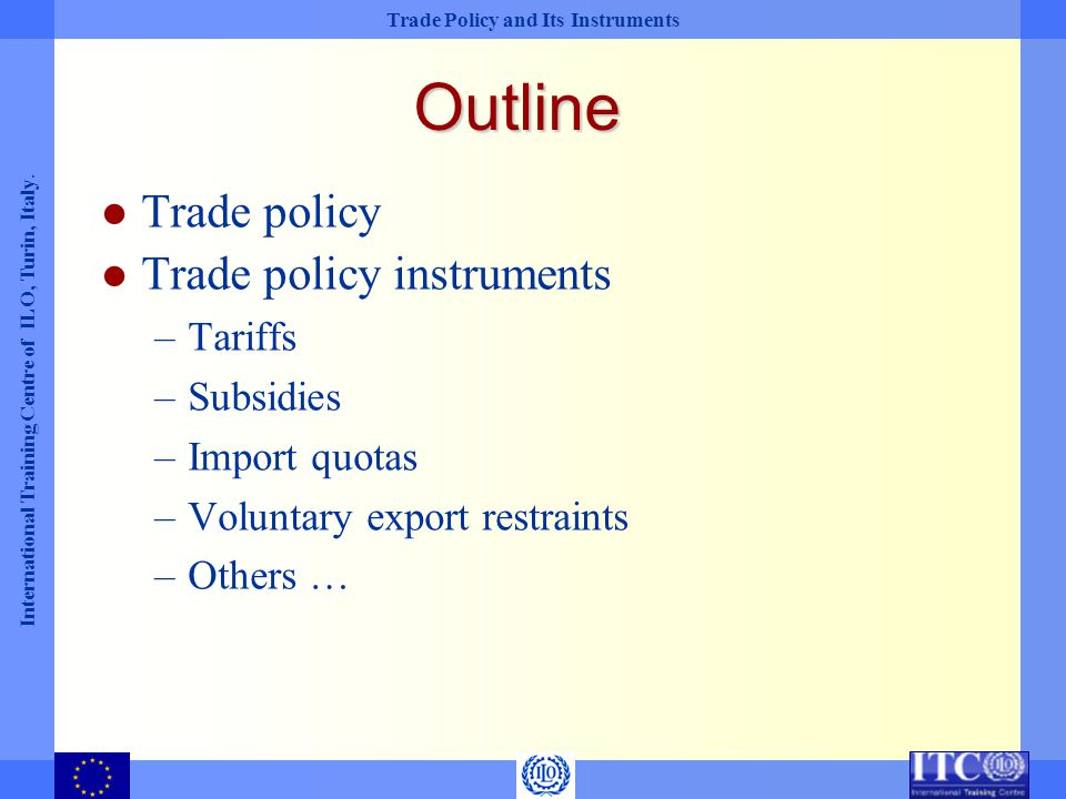 Outline Trade policy Trade policy instruments Tariffs Subsidies