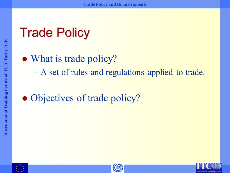Trade Policy What is trade policy Objectives of trade policy
