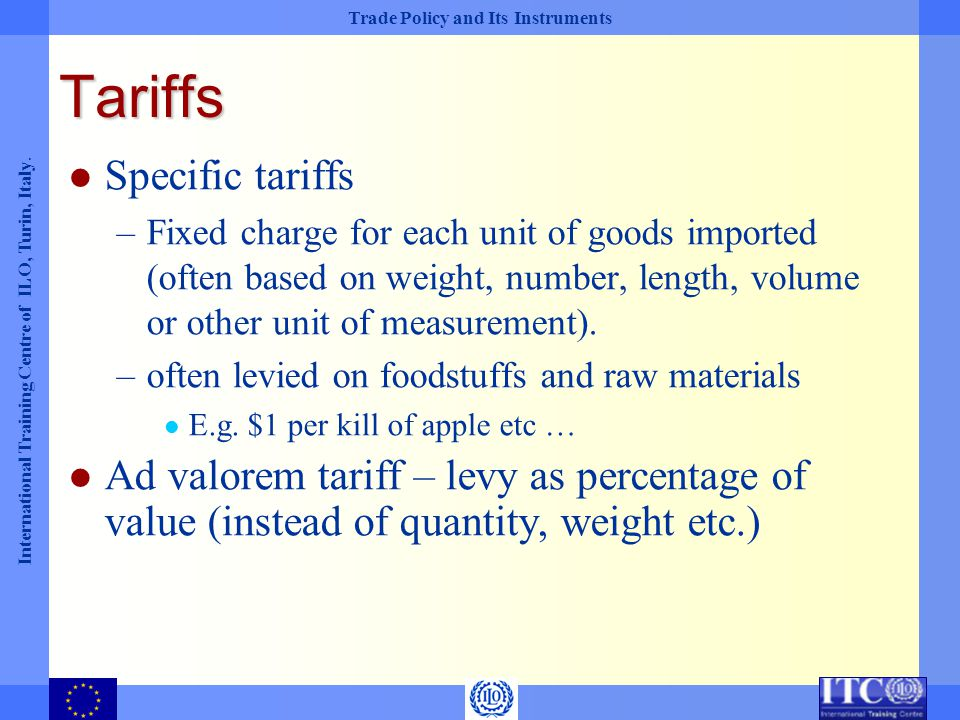 Tariffs Specific tariffs