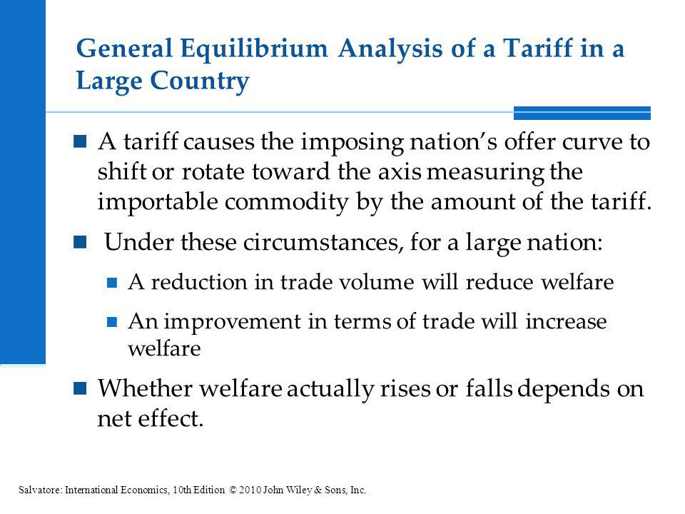 General Equilibrium Analysis of a Tariff in a Large Country