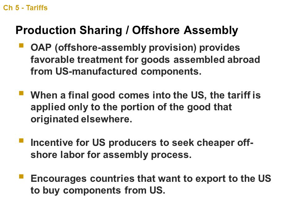 Production Sharing / Offshore Assembly