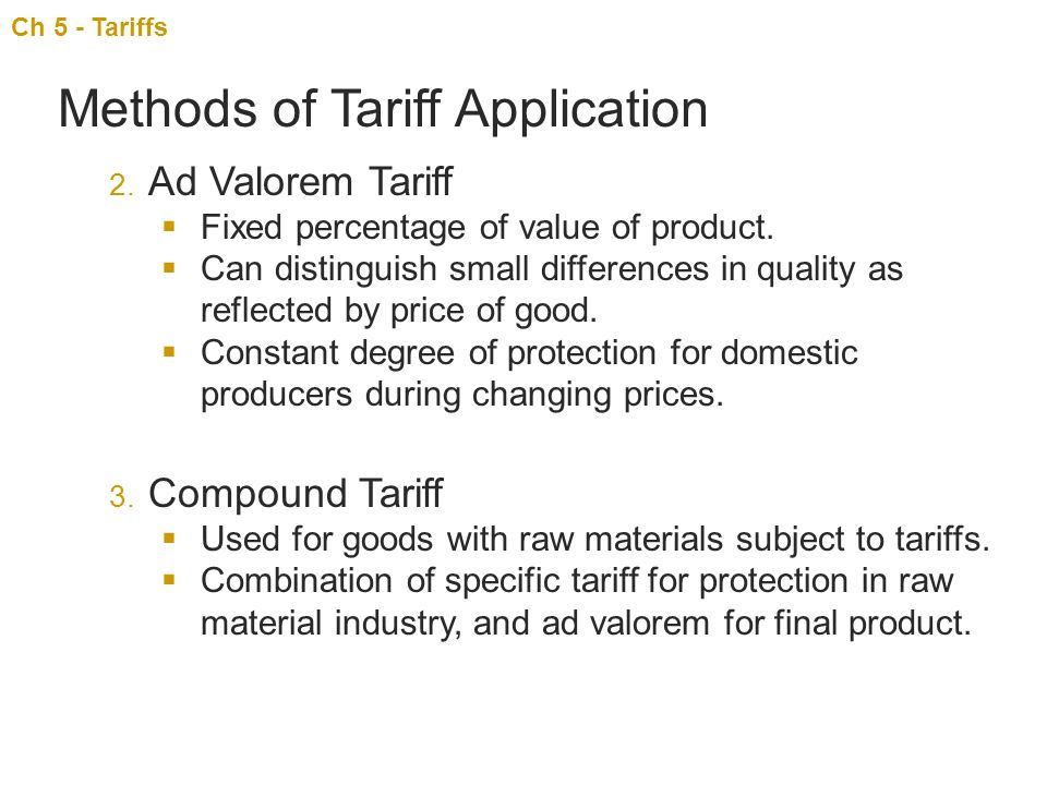Methods of Tariff Application
