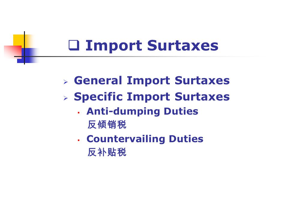 Import Surtaxes General Import Surtaxes Specific Import Surtaxes