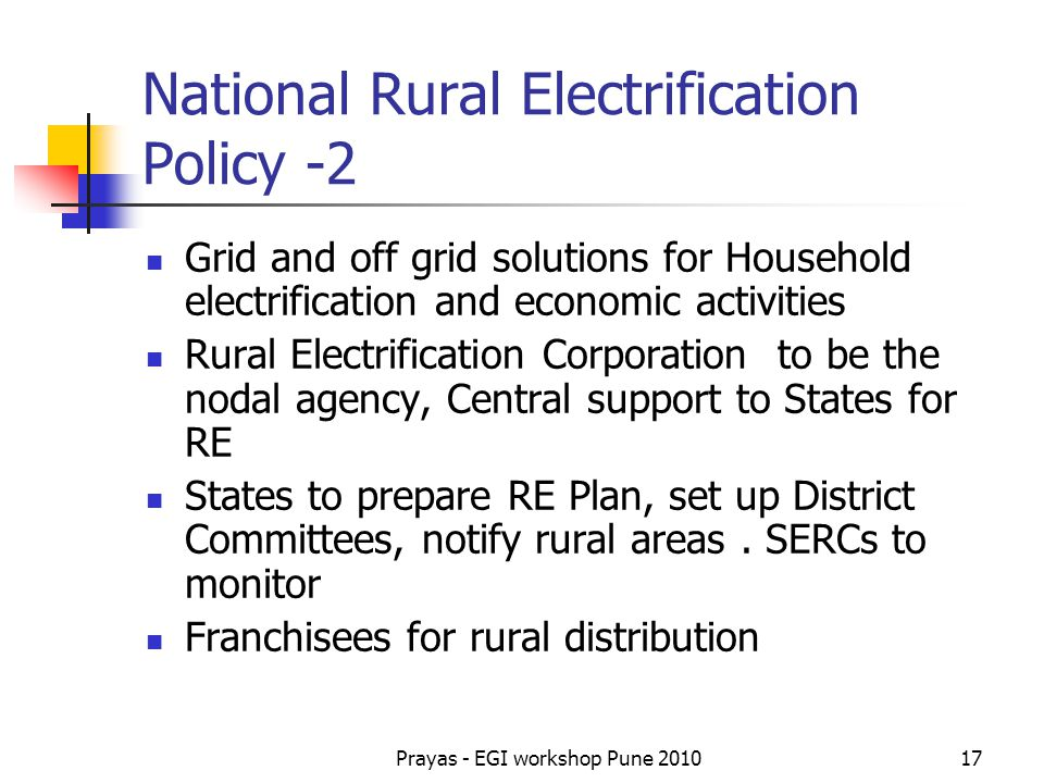 National Rural Electrification Policy -2