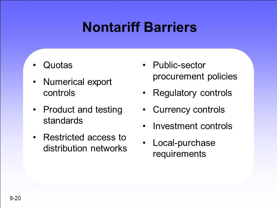 Nontariff Barriers Quotas Numerical export controls