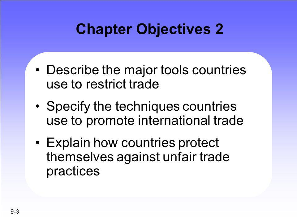 Chapter Objectives 2 Describe the major tools countries use to restrict trade. Specify the techniques countries use to promote international trade.
