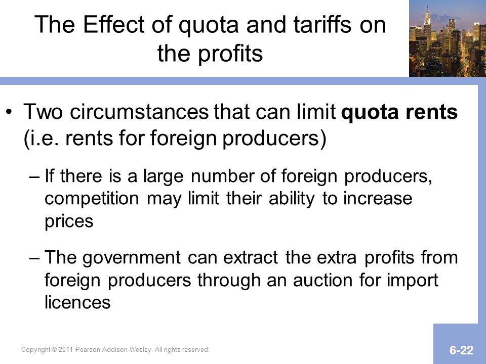 The Effect of quota and tariffs on the profits