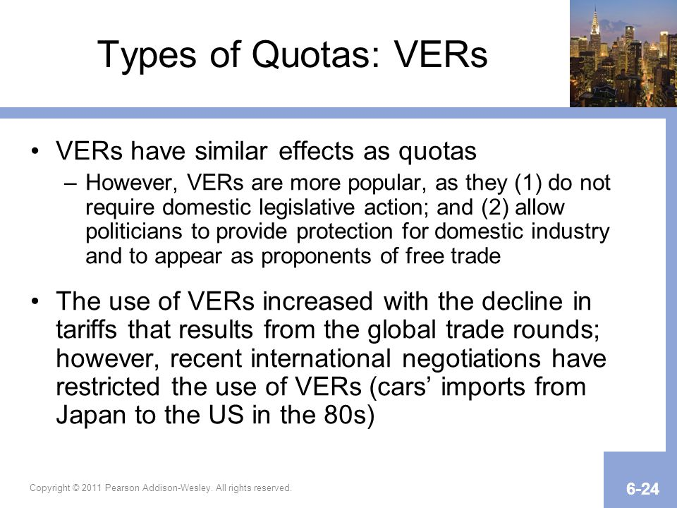Types of Quotas: VERs VERs have similar effects as quotas