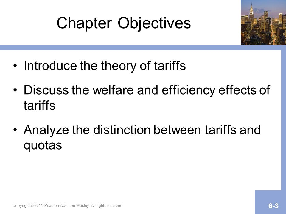 Chapter Objectives Introduce the theory of tariffs