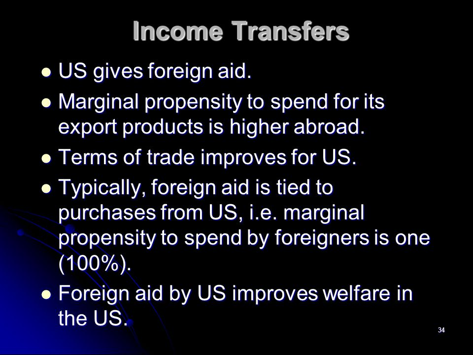 Income Transfers US gives foreign aid.