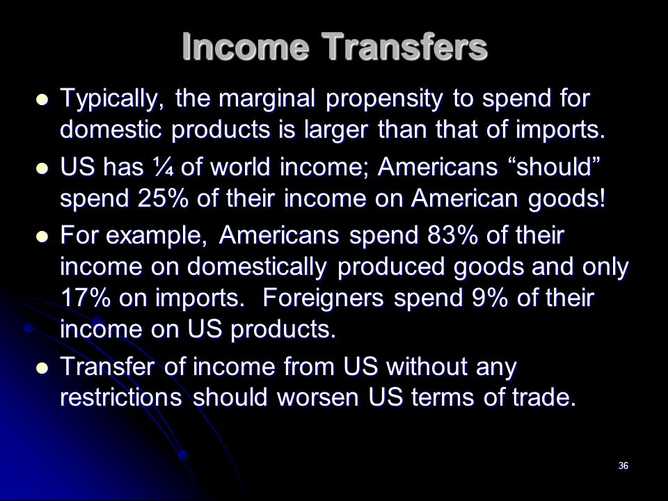 Income Transfers Typically, the marginal propensity to spend for domestic products is larger than that of imports.