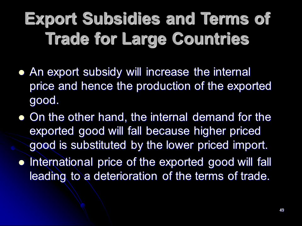 Export Subsidies and Terms of Trade for Large Countries