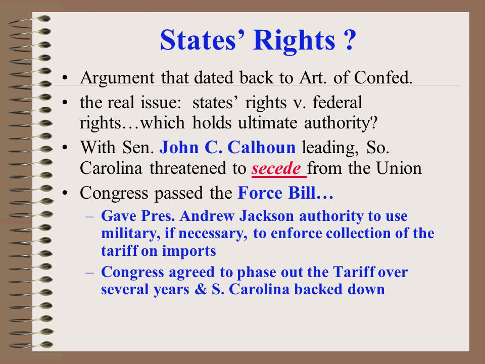 States' Rights Argument that dated back to Art. of Confed.