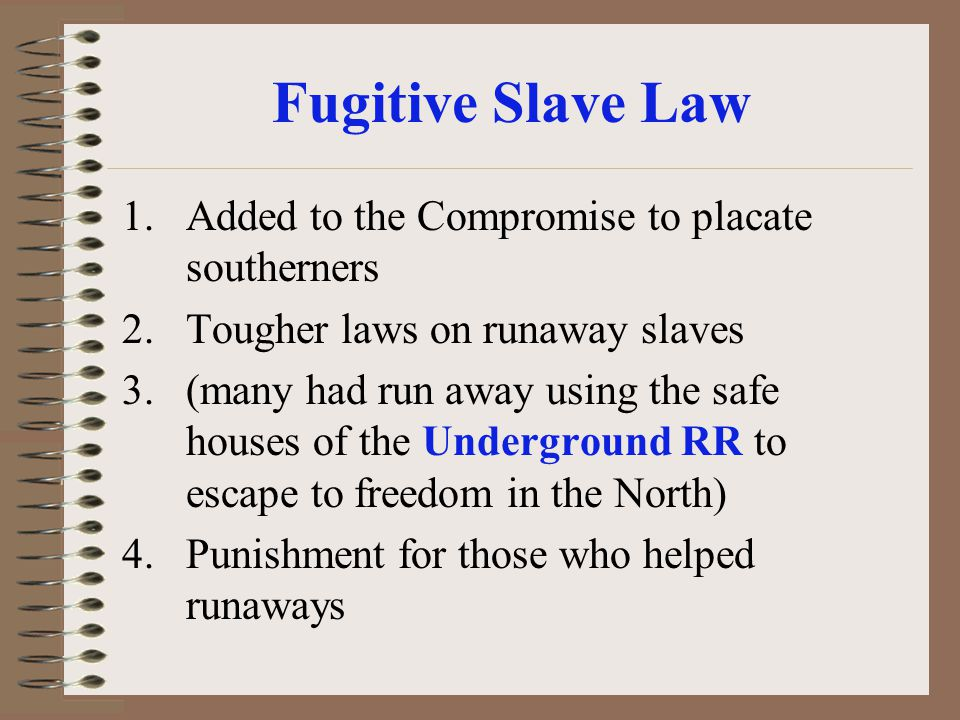 Fugitive Slave Law Added to the Compromise to placate southerners