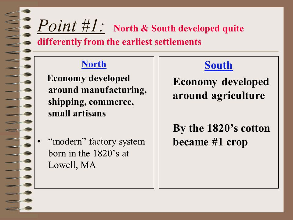 Point #1: North & South developed quite differently from the earliest settlements