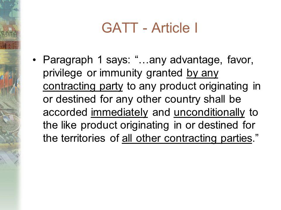 GATT - Article I