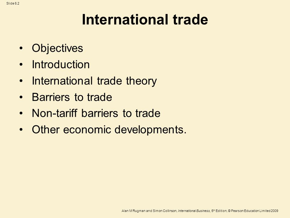 International trade Objectives Introduction International trade theory