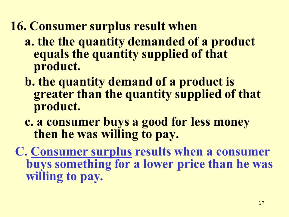 16. Consumer surplus result when