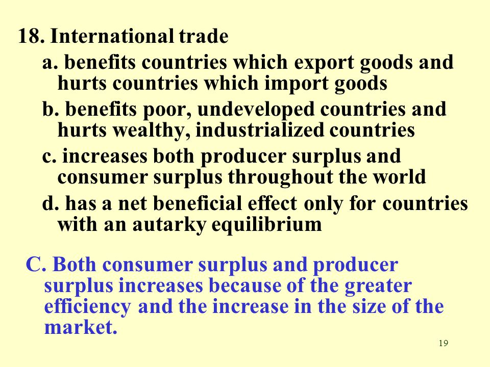 18. International trade a. benefits countries which export goods and hurts countries which import goods.