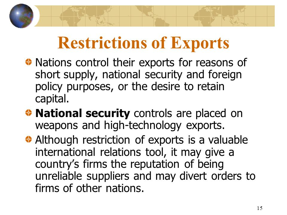 Restrictions of Exports