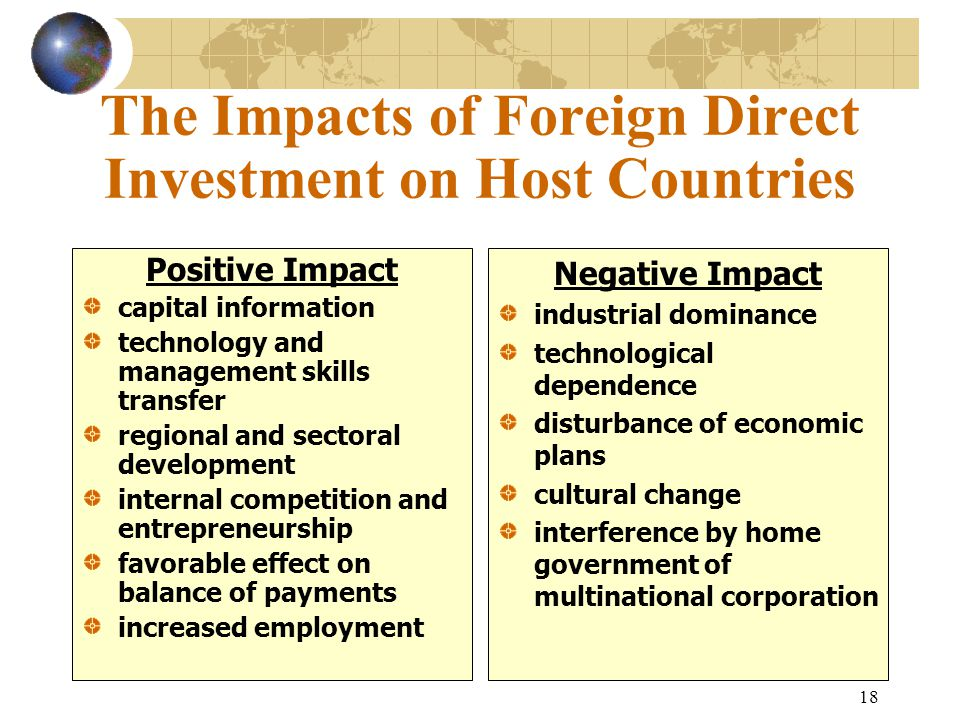 The Impacts of Foreign Direct Investment on Host Countries