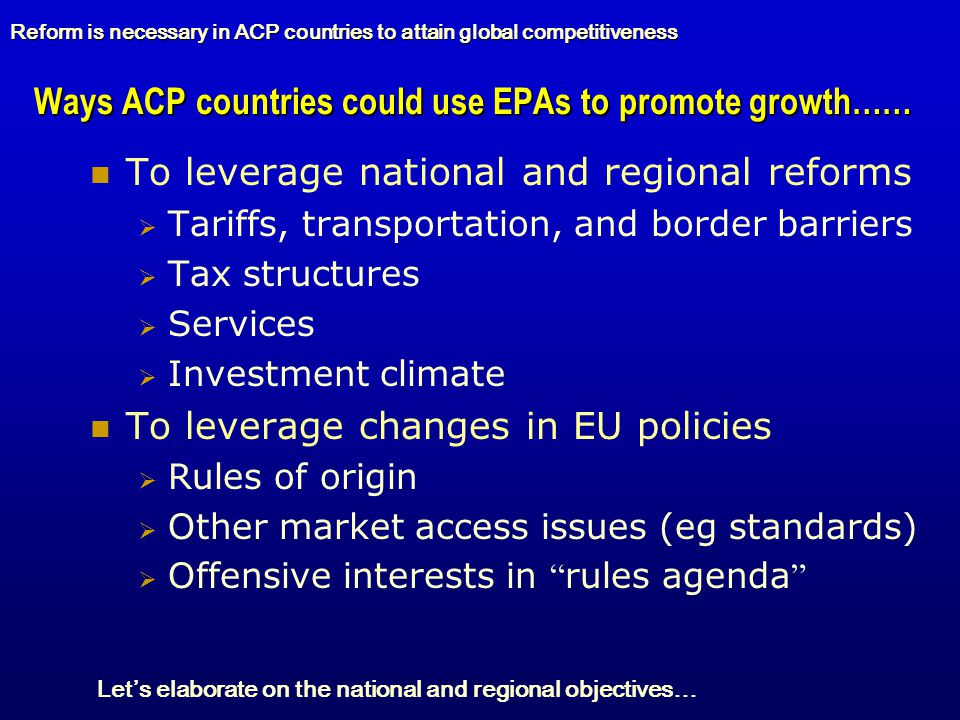 Ways ACP countries could use EPAs to promote growth……