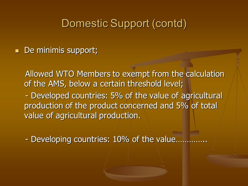Domestic Support (contd)