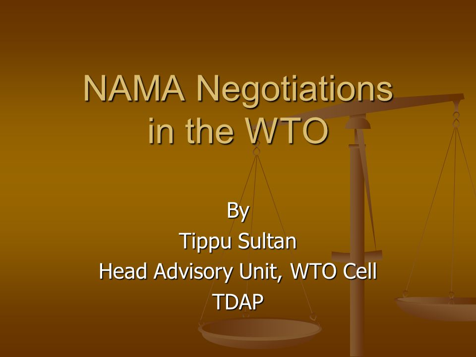 NAMA Negotiations in the WTO