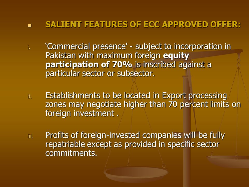 SALIENT FEATURES OF ECC APPROVED OFFER: