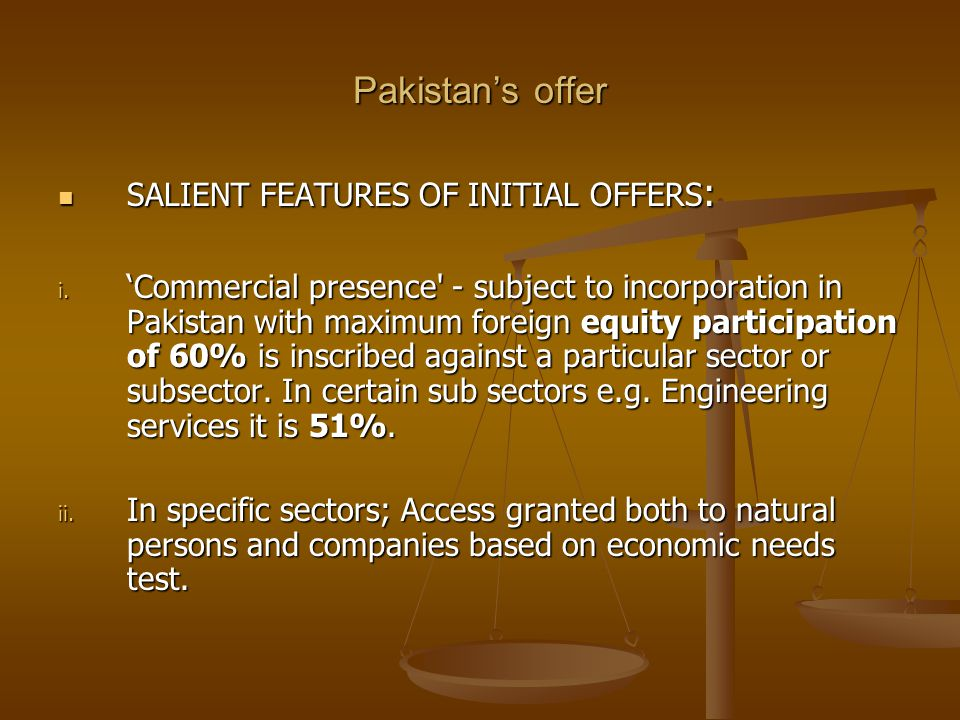 Pakistan's offer SALIENT FEATURES OF INITIAL OFFERS: