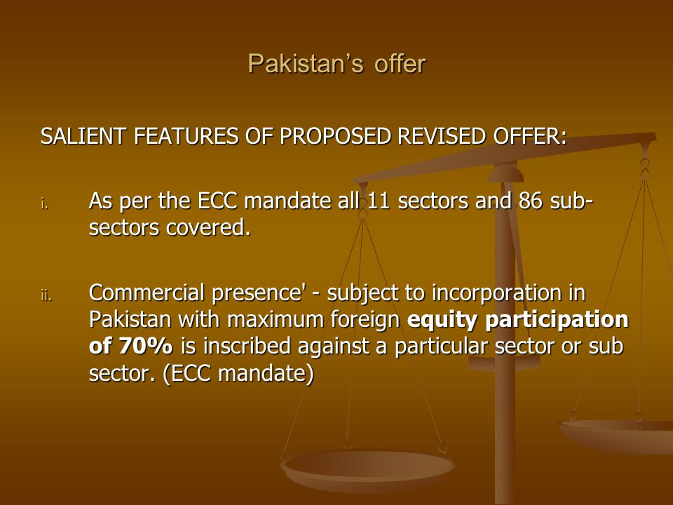 Pakistan's offer SALIENT FEATURES OF PROPOSED REVISED OFFER: