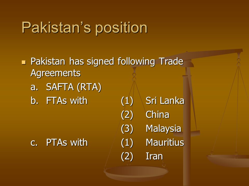 Pakistan's position Pakistan has signed following Trade Agreements