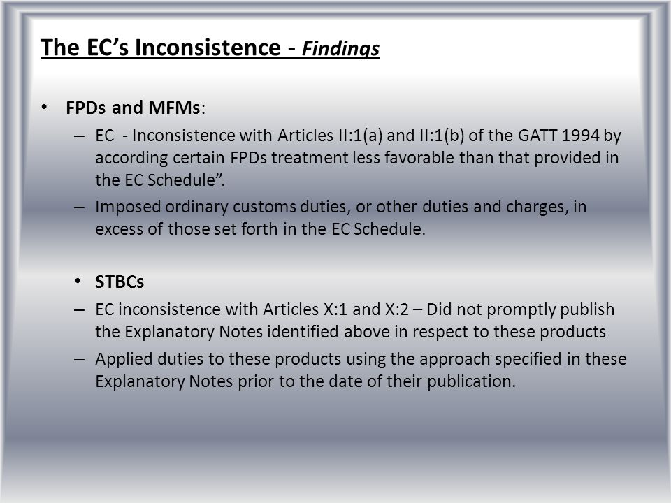 The EC's Inconsistence - Findings
