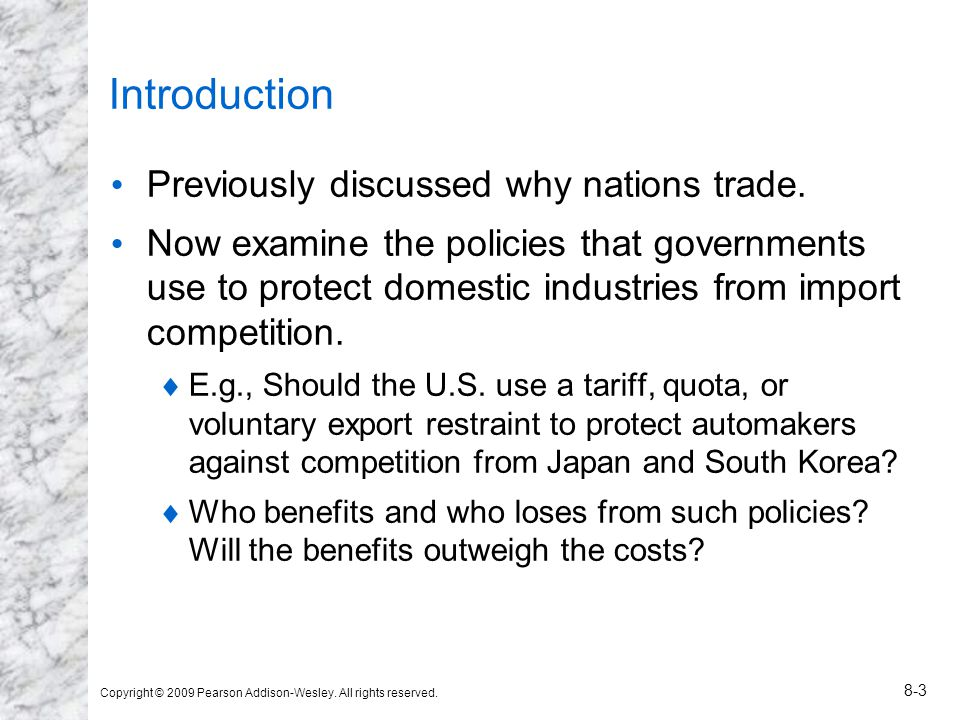 Introduction Previously discussed why nations trade.