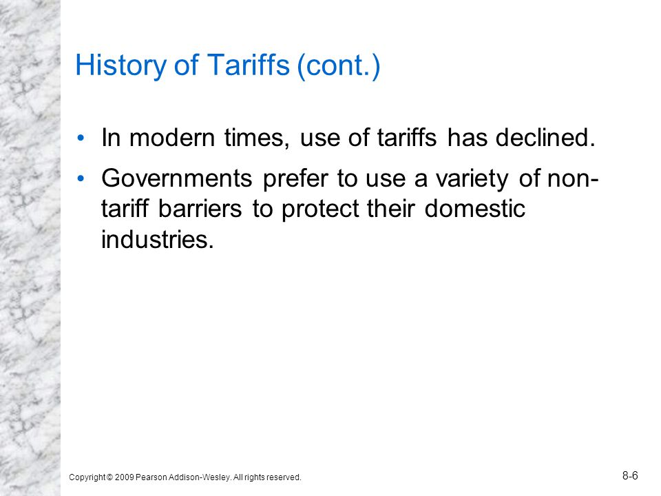 History of Tariffs (cont.)